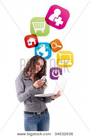 woman with phone and application