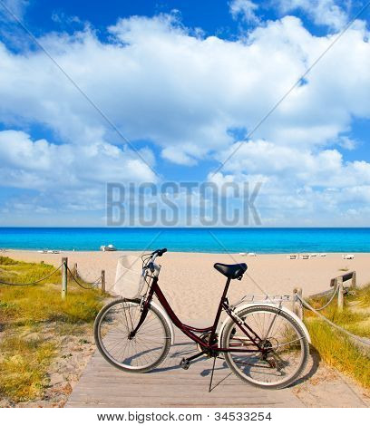Bicycle in formentera beach on Balearic islands at Levante East Tanga