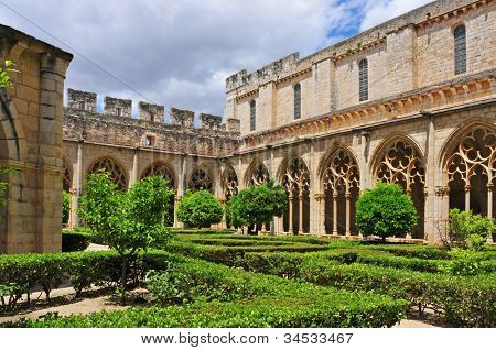 view of the cloister of Monastery of Santa Maria de Santes Creus, Spain