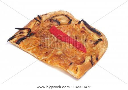 a piece of coca de recapte, a typical catalan dish like a pizza, on a white background