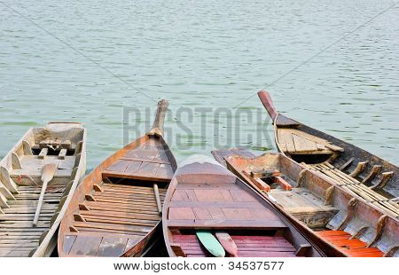 Old Traditional Thai Rowboats