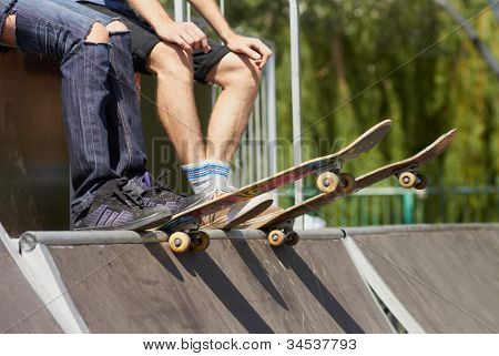 Skates Sitting On Mini-ramp Ready To Roll-in