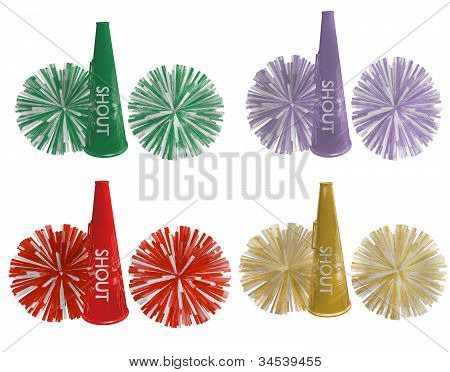 cheerleader horn and pompoms