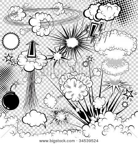 Vector comic book explosion elements. Cartoon symbols