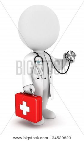 3d white people doctor