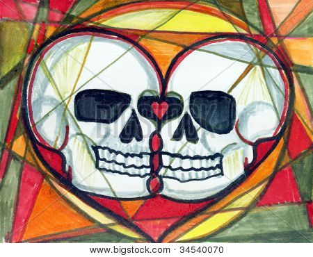 Day Of The Dead Love Skulls