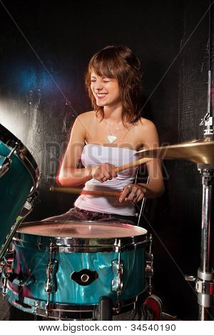 Happy Female Drummer