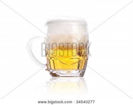 Frosty Small Mug Of Light Beer With Foam Isolated