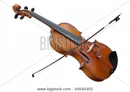 violoncello with fiddlestick isolated under the white background