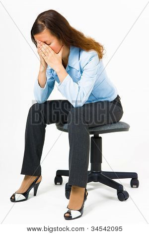 Stress. Woman Hides Her Face