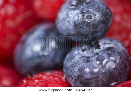 Blueberries And Raspberries Close-Up