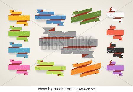 Colorful polygonal origami folded vintage banners. Place your text here