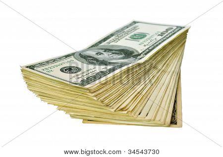 Heap Of 100 Dollar Banknotes