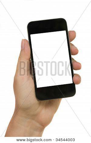 hand holding modern phone