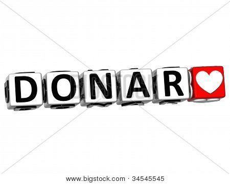 3D Donate In Spanish Language Button Click Here Block Text