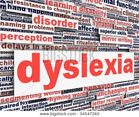 Dyslexia disability message conceptual design