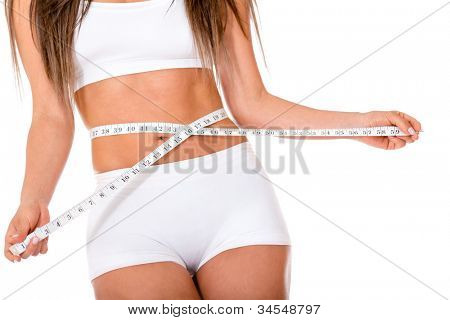 Woman concerned about weight loss and taking measurements