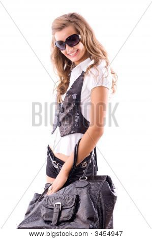 Attractive Girl With Big Fashion Bag