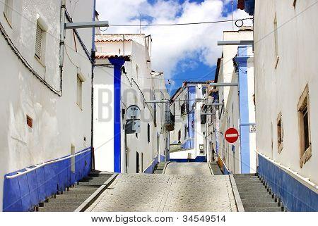 Traditional Street Of Alentejo Region, Arraiolos Village.