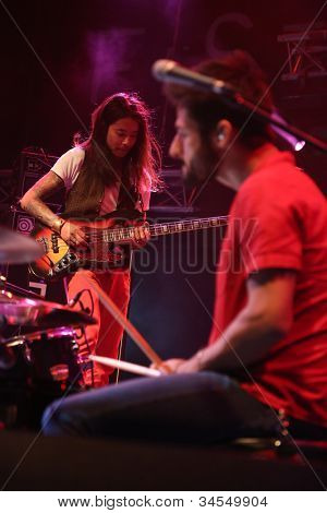 LOULE, PORTUGAL - JUNE 29: Paus performs onstage in a world music festival at festival med on June 29, 2012 in Loule, Portugal.