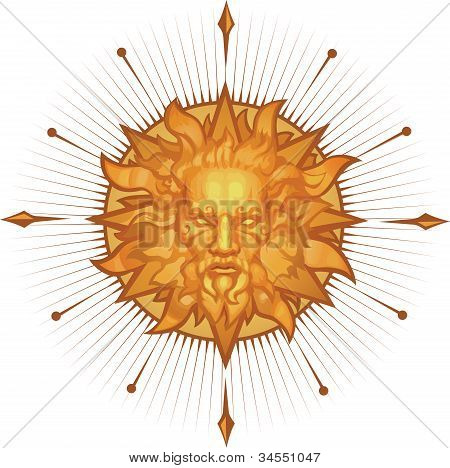 Decorative sun emblem