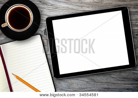 Workplace With Digital Tablet, Notebook And Coffee Cup