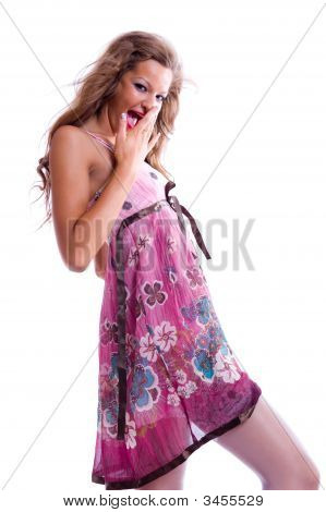 Girl In Summer Dress Flirts With You