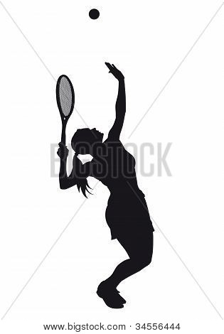 Serving Tennis Girl