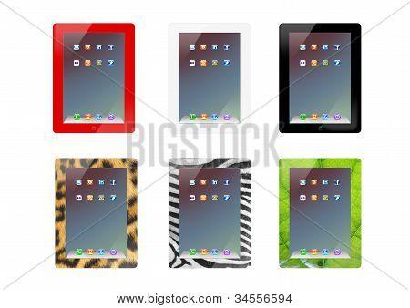 illustration of set of Ipad design Tablet.