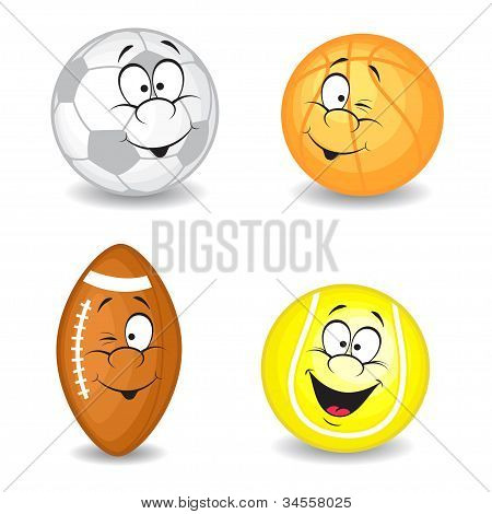 Cartoon sport balls