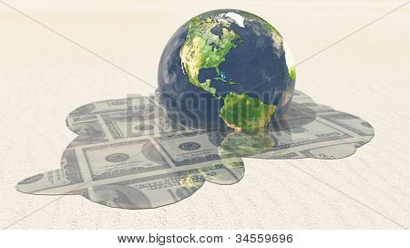 Earth melts revealing dollars Elements in this image furnished by NASA