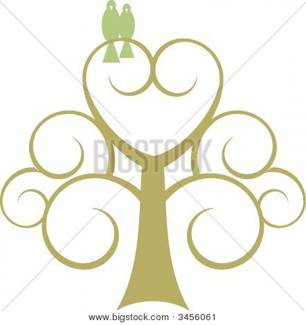 Lovebirds In Heart Scroll Tree