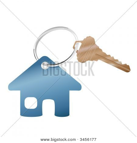 House Key Ring & Real Estate Website Home Symbol.Eps