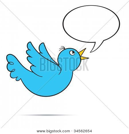 Flying bluebird.  Includes speech bubble with copy space on white background.