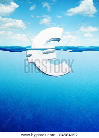 afloat euro symbol, 3d render