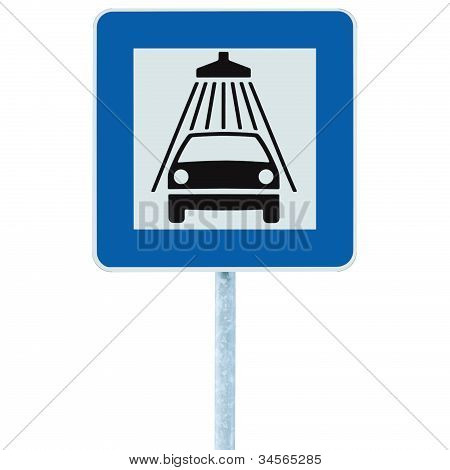 Car Wash Road Sign On Post Pole, Traffic Roadsign, Blue Isolated Vehicle Shower Washing Service Road