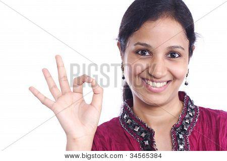 Teenage Girl With Ok Sign