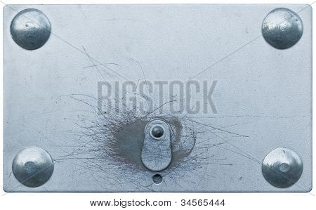 Metal Lock Plate, Hidden Locker Key Hole, Closed Keyhole Shut, Isolated Macro Closeup Copy Space Bac