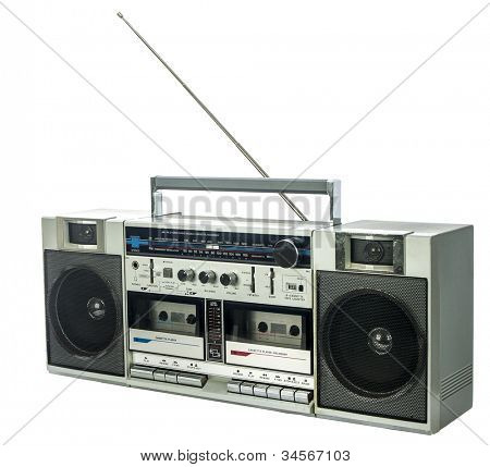 retro ghetto blaster isolated on white