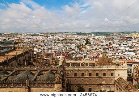 cityscape and skyline of seville in andalusia, spain. view from the giralda.