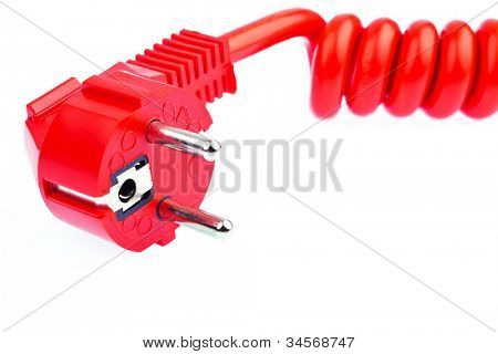 a red power cable with a connector located on a white background