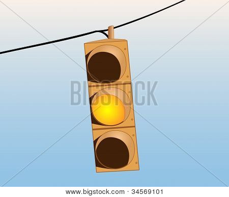 Traffic Lights On The Wire Yellow