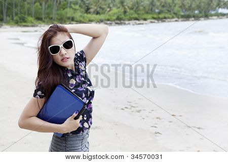 Businesswoman Posing At Beach