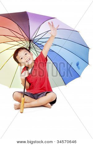 Little Boy With Multicolored Umbrella