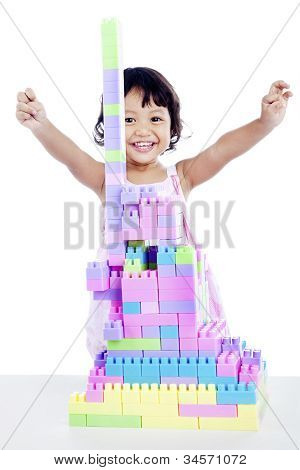 Success Girl With Blocks