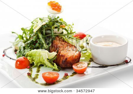 Grilled Salmon with Vegetables, Eggs and Tartar Sauce