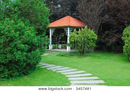 Summerhouse And Curving Walkway