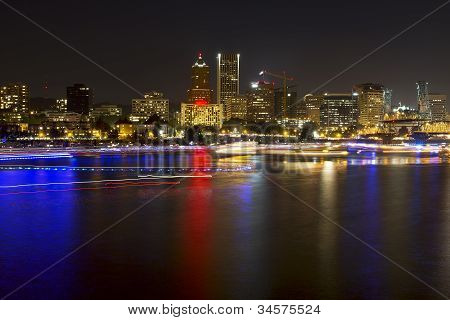 Boat Light Trails Along Willamette River In Portland Oregon
