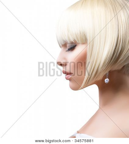 Blond Hair.Haircut. Beautiful Girl with Healthy Short Hair Isolated on a White Background. Hairstyle