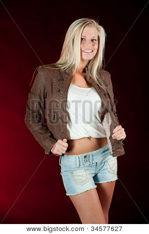 Brown leather jacket and shorts